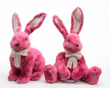Fake fur bunny with bow (2 assorted/Pink)