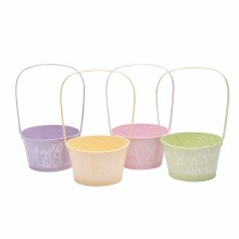 Easter Zinc Bowl w Handle Family Assorted (19cm)