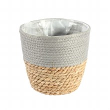 Basket Round Two Tone Seagrass and Grey (23cm)