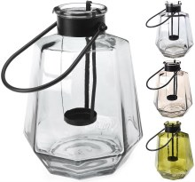 Lantern glass with handle (4 assorted)