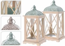 Lantern Wood Set Of 2Pcs 2Ass
