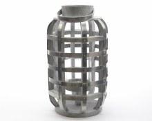 fir wood lantern w metal deco