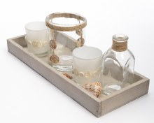 Glass sea decoration set in wooden tray