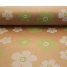 Kraft Paper Nat w Green & White Fleur (50cmx100m)