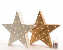 LED wooden star 2cls bo