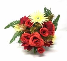 Bush Poinsettia Rose Red/Gold x22