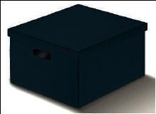 Box with Lid Black Leather -Pelle Nero(34x50x25cm)