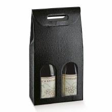 2 Bot. Wine Carrier Leather Black - Pelle Nero