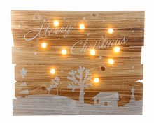 LED wooden frame with text bo