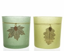 Glass tealightholder with leaf hanger (2 assorted)