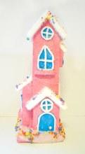 Tall Christmas House Pink