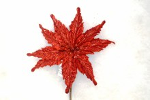9in Poinsettia Pick - Red