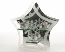 glass tlighth star w snowflake