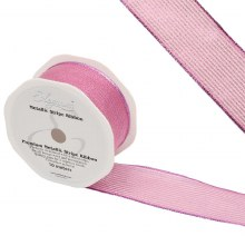 Ribbon Finesse Metallic Stripe 38mm Pink