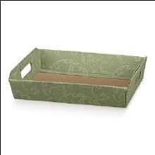 Green Tray - Cesto I. Damascato Verde (31x22x9cm)