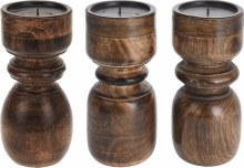Candlestand (20cm/3 assorted/Brown)
