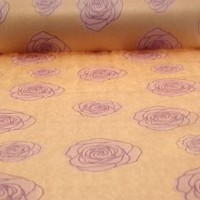 Natural kraft paper with lilac roses (50cm x 125m)