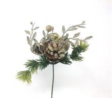 7'' Xmas Pick Gold w/ Glitter Pine Cones