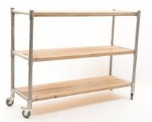 iron rack w pinewood shelves