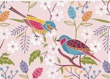 Card Folded Colour Birds on a Branch x25