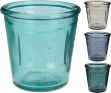 Tealightholder Glass 9cm 4Ass