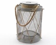 zinc lantern with rope handle