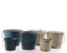 Zinc bucket with handle (2 colours assorted)