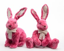 Fake Fur Bunny with Bow Assorted Pink