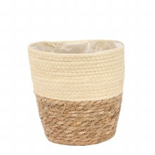 Basket Round Two Tone Seagrass and Cream (23cm)