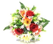 Bush Water Lily/Rose Pom Red/Cream x22