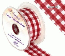 Large check gingham ribbon (Burgundy)