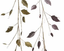 iron leaf garland w beads 2cls