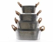 zinc planter with jute handle