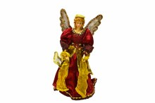"12"" Angel Tree Topper Burgundy Gold"