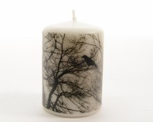 pillar candle with tree design