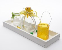 Glass deco set in wood tray