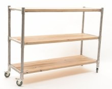 iron rack w pinewood shelves