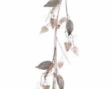 plastic leaf garland w glitter