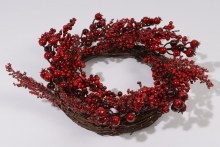 berry wreath with snow