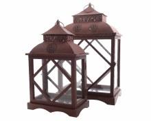 fir wood lantern with handle
