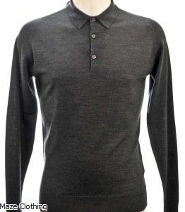 John Smedley Belper Polo Shirt Charcoal