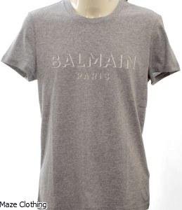 Balmain Logo T Shirt Grey