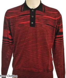Missoni Stripe Knitted Polo Shirt Red