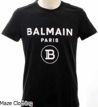 Balmain Flock Logo T Shirt Black