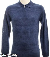 Remus Uomo Zip Polo 58738 Blue