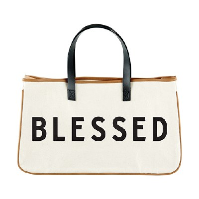 Large Canvas Tote - Blessed