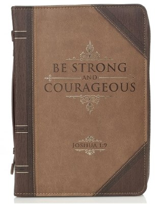 BIble Cover - LuxeLeather, Brown, Be Strong & Courageous, Large