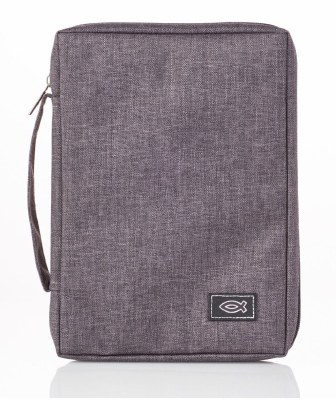 Bible Cover - Canvas, Gray, Large