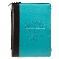 Bible Cover - LuxeLeather, Turquoise, I Can Do Everything, Large
