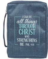Bible Cover - Canvas, Navy, I Can Do All Things, Medium